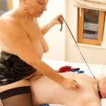 Femdom plays with her slave