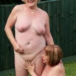 Lesbian sex in the garden