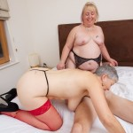 Sexy grandma in hot threesome